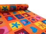 Szíves virágos vászon/karton anyag