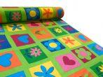 Szíves virágos vászon/karton anyag zöld